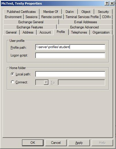 Setting a User Account to Point to a Mandatory Profile